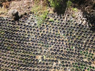 Glass bottle wall - Driving creek railway
