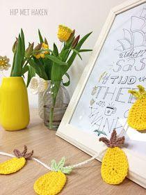 Crochet pineapple garland and flowers. Gehaakte ananas slinger en bloemen. #HipmetHaken