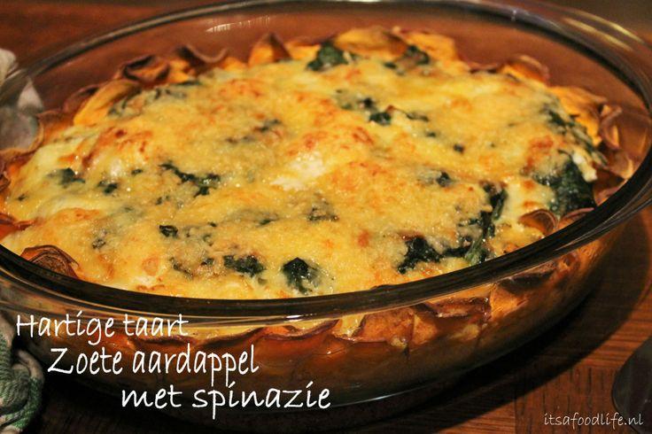 Hartige taart: met een korst van zoete aardappel ipv bladerdeeg! lekker met spinazie, geitenkaas en knoflook | It's a Food Life