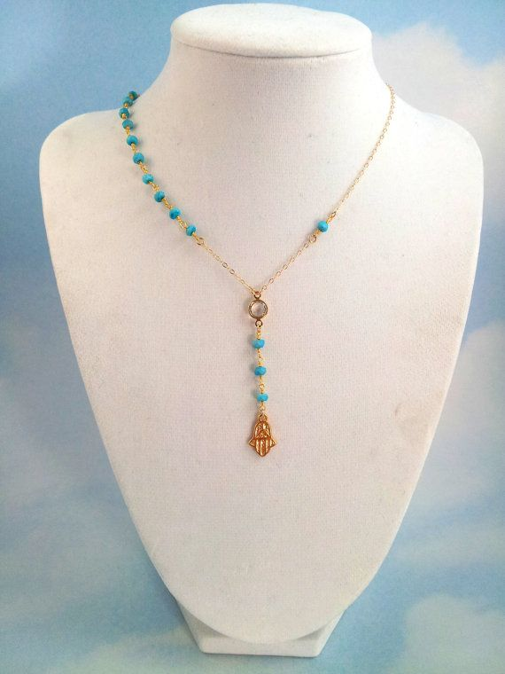 Hamsa Necklace Turquoise Gemstone 14kt by divinitycollection, $69.00