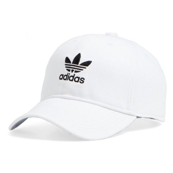 Women's Adidas Trefoil Baseball Cap ($24) ❤ liked on Polyvore featuring accessories, hats, white, embroidered baseball caps, adidas hat, embroidered hats, baseball hat and cap hats