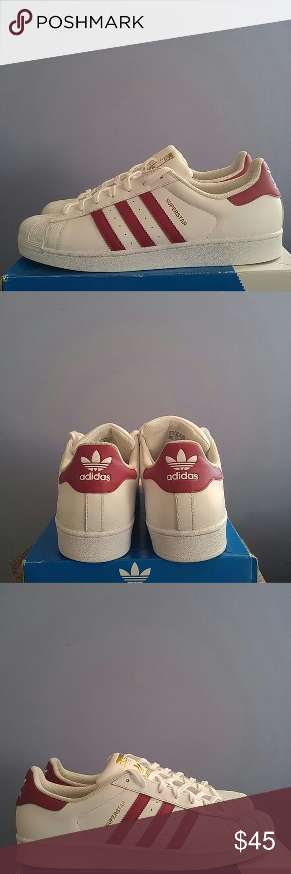 Adidas Superstar Shell Toe Maroon. Great condition/like new adidas Shoes Sneakers