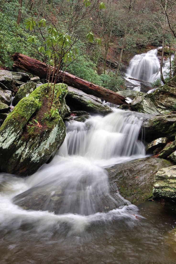 Catawba River cascades at Catawba Falls waterfall in Pisgah National Forest in the North Carolina mountains near Asheville