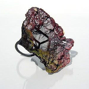 Ring | Rita Marcangelo.  Oxidised silver, burnt silk, acrylic paint, gold