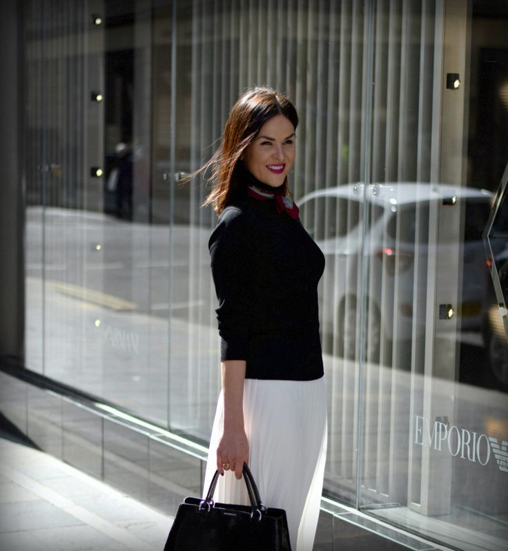Glasgow Fashion Blogger LAFOTKA outside EMPORIO ARMANI STORE IN GLASGOW