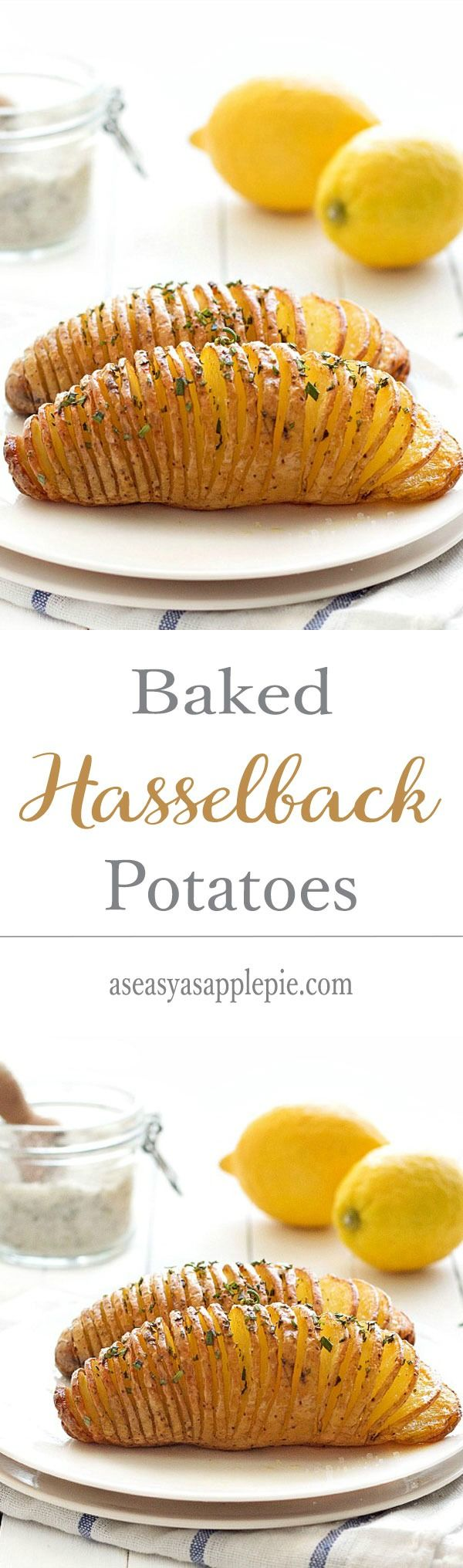 A simple and creative side dish or appetizer recipe: baked hasselback potatoes. Vegan and vegetarian
