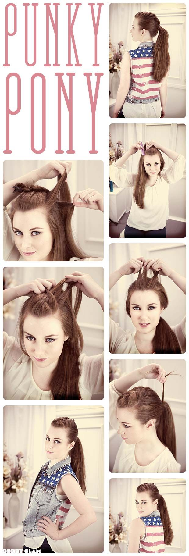 this is so cool looking, and a fun way to do a ponytail. if only I knew how to french braid. :P