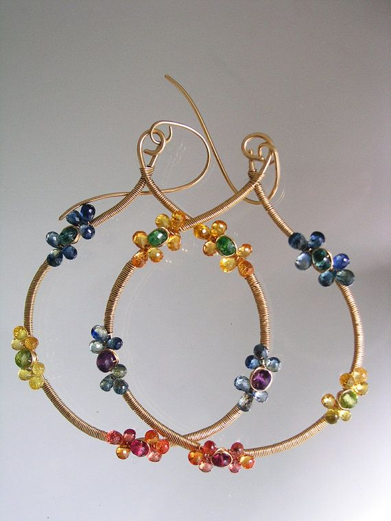 Sapphire Gold Filled Hoops, Flower Blossoms, Handmade, Wire Wrapped Gemstone Earrings, Sapphire Rosettes, Bohemian Style, Original Design