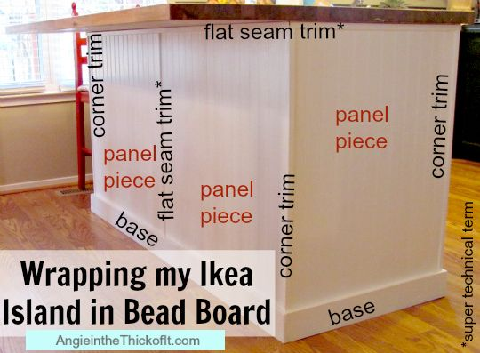 how to wrap my kitchen island in bead board and trim