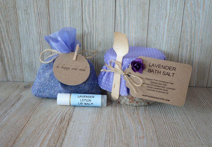 Lavender gift set, lavender gift, lavender bath salt, lavender lip balm, lavender potpourri, spa gift for her, gift set for her by MartaGDesigns on Etsy