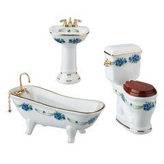 3-Pc. Blue Rose Bath Set by Reutter Porzellan