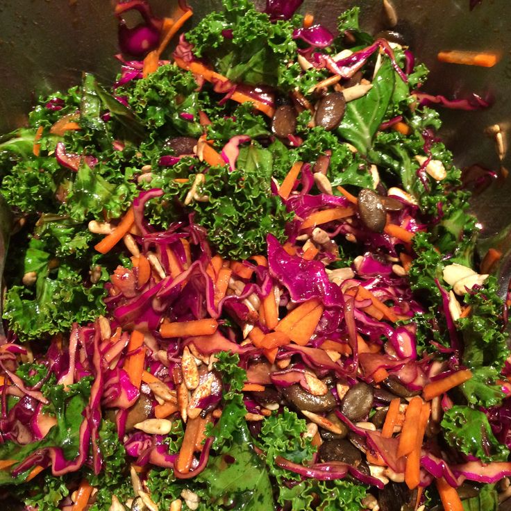 Hail to the Kale Salad (Planet Organic Cookbook).  In week 1 I made it without the seeds, and with for week 2.