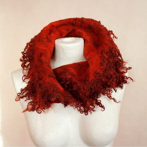 Felted scarf orange whit curls wool felted collar fur by EsartFelt