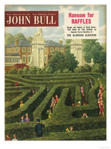 John Bull, Holiday Maze Hampton Court Tourists London Magazine, UK, 1950