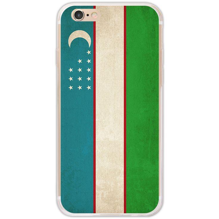 Retro Uzbekistan flag pattern for iPhone 7 case