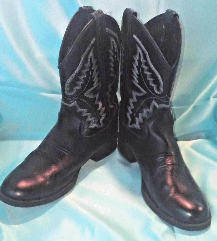 Old West Black Leather Western Boots Size 5 Youth Uni-Sex  | Clothing, Shoes & Accessories, Kids' Clothing, Shoes & Accs, Unisex Shoes | eBay!