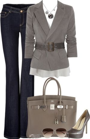 Bootcut Jeans, Gray Jacket, Darker Gray Belt, Lighter Gray Cami, Gray Leather Bag, White/Gray Sunglasses, Gray Pumps