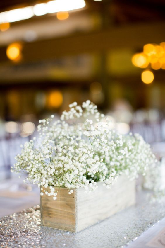 Baby's breath arnwood centerpiece box / http://www.himisspuff.com/wooden-box-wedding-decor-centerpieces/13/