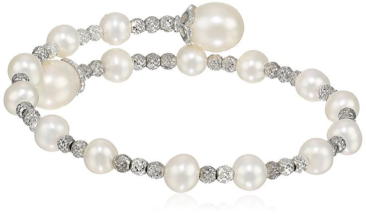 Bella Pearl Sterling Silver Wrap-Bangle Bracelet -- Details can be found by clicking on the image. (This is an Amazon Affiliate link)