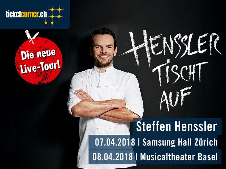 Deutschlands erfolgreichster TV-Koch Steffen Henssler kommt mit seiner Live-Show «Henssler tischt auf» in die Schweiz. Am 7.4.18 kocht der Hamburger in der Samsung Hall und am 8.4.18 im MusicalTheaterBasel. Tickets sind ab sofort erhältlich: http://www.ticketcorner.ch/steffen-henssler