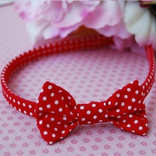 Mini Bow Headband Red with White Spots - $11.95 - Handmade vintage inspired accessories for little girls, this gorgeous mini bow headband adds the finishing touch to your little ones outfit and hair style. #sweetcreations #baby #kids #girls #hair #accessories #asterbelle #headband #accessorise #red