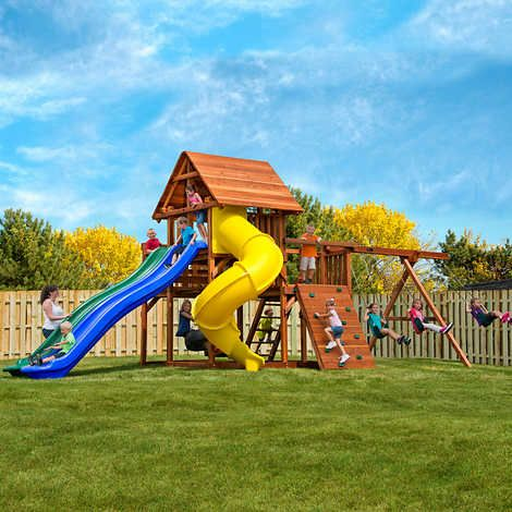 Kid S Creations High Wire Deluxe Redwood Playset