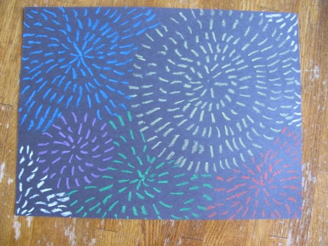 Art Lesson: Oil Pastel Fireworks