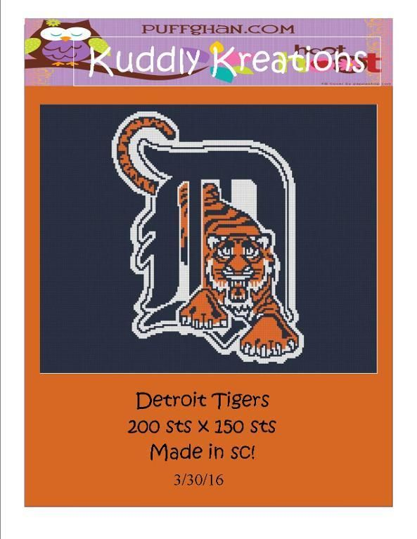 (4) Name: 'Crocheting : Detroit Tigers Baseball Crochet Graph