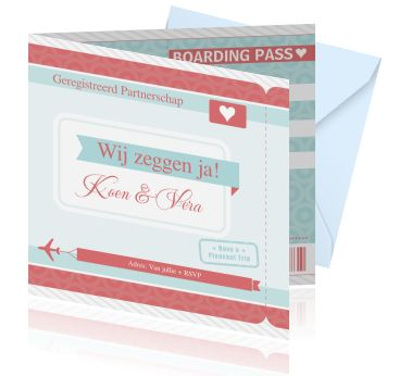 Een originele uitnodiging voor geregistreerd partnerschap als boarding pass. Een kaart ontwerpen als een ticket met een vliegtuig.