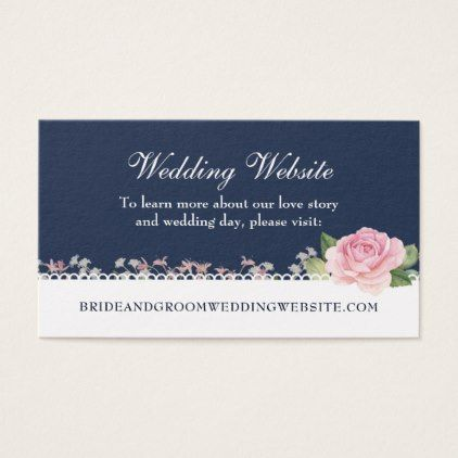 Elegant Floral Midnight Blue Wedding Website Business Card - elegant gifts gift ideas custom presents
