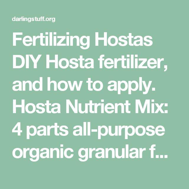 Fertilizing Hostas DIY Hosta fertilizer, and how to apply. Hosta Nutrient Mix: 4 parts all-purpose organic granular fertilizer 4-3-3, 1 part blood meal 12-0-0, 1 part bone meal 0-10-0, part Epsom salts [for magnesium] - Darling Stuff