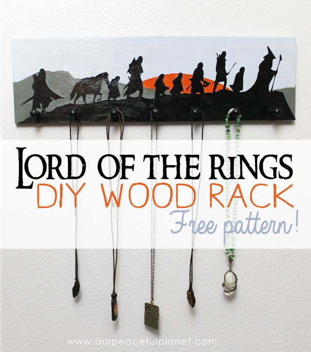 Make this Lord of the Rings art wood rack to hold belts, jewelry etc. Easy to follow instructions with free pattern download. Takes a simple saw and drill!