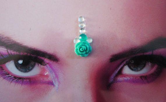 Mint groene roos bindi  tribal fusion buikdans door FeeoraFatale, €8.00