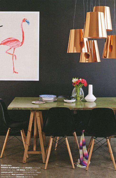 De belles suspensions en cuivre au-dessus de la table à manger #dccv #copper #cuivre