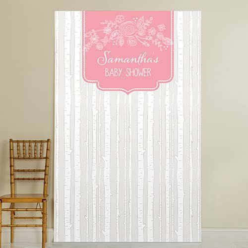 Easily create a beautiful focal point with this personalized themed baby shower backdrop.