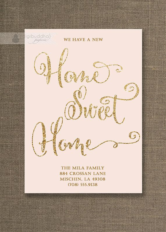 Blush Pink & Gold Moving Announcement Card Home Sweet Home Gold Glitter Chic New House Address Change Printable Digital or Printed - Mila