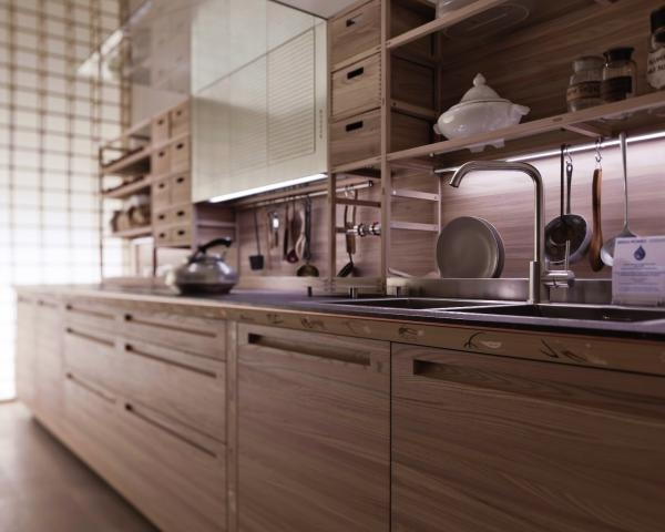 Valcucine kitchen with wood, carbon and white colors (and stainless)