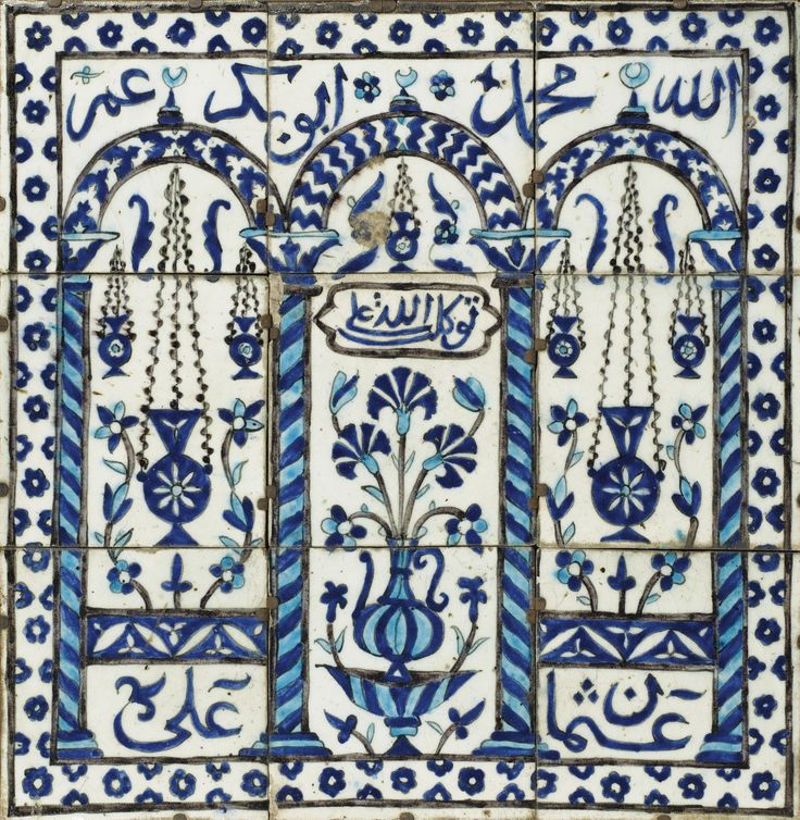 Panneau composé de neuf carreaux de revêtement, Syrie, Damas, art ottoman, seconde moitié du XVIIème siècle A DAMASCUS POTTERY TILE PANEL, OTTOMAN SYRIA, SECOND HALF 17TH CENTURY, 68.5 cm square