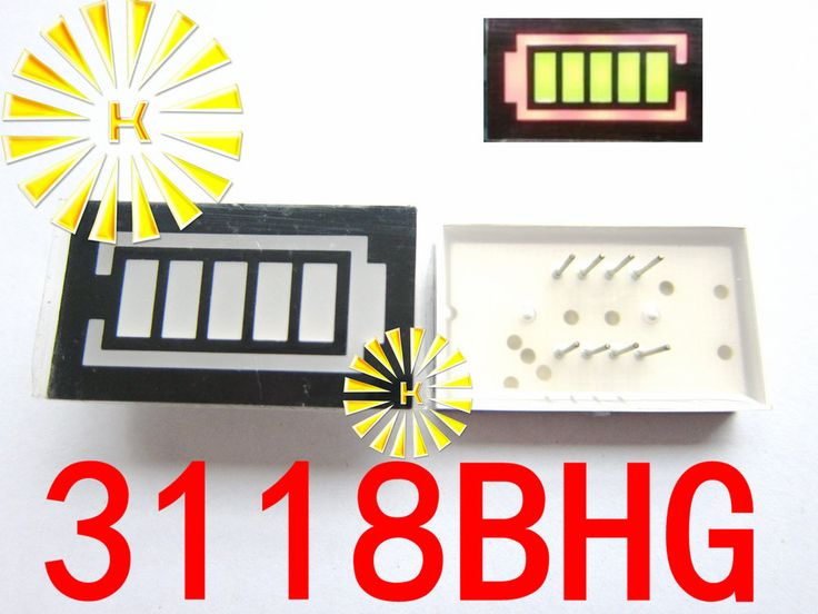FREE SHIPPING 10PCS x 5 Segment Battery Style LED Digital Tube Display Yellow Green LED Inner + Red LED Outer 3118BHG #Affiliate