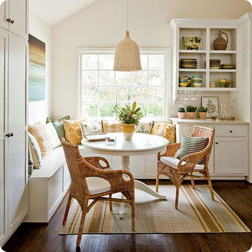 Oooh, I would love a breakfast nook! I like that this one is open and easy to sit/stand at/from. My grandparents had one like a booth, and it was tricky to move around at.