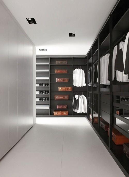 black walk in wardrobe