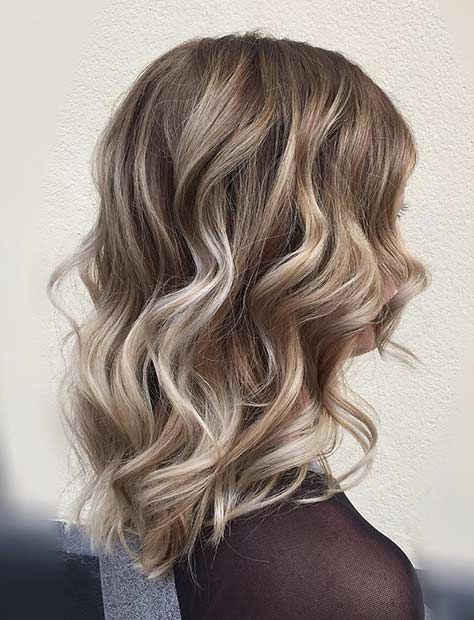 Curly Long Bob Haircut With Blonde Balayage Highlights Glavportal