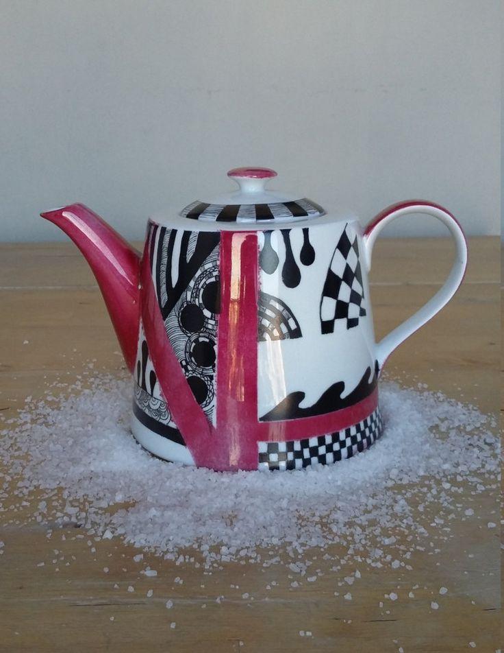 Teiera in ceramica dipinta a mano made in italy "Segment Style" di Scialaba su Etsy