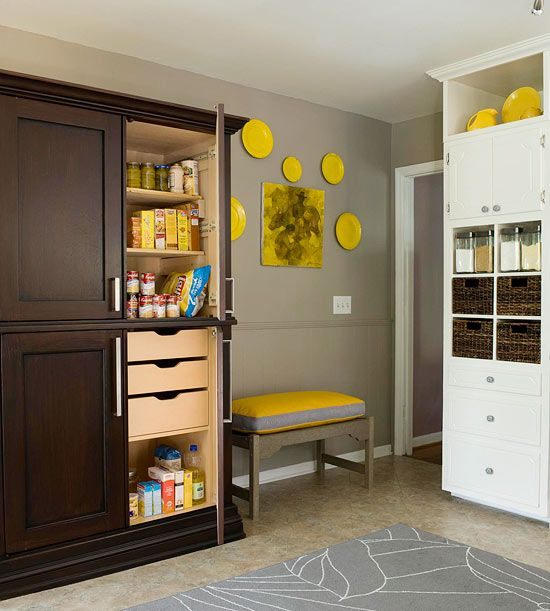 I love the idea of re-purposing an armoire as a pantry!
