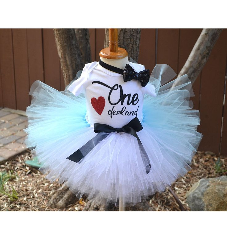 First Birthday Alice wonderland, Onederland Outfit, Birthday babe, Light Blue Tutu, Black sequin bow headband. by GABYROBBINSDESIGNS on Etsy