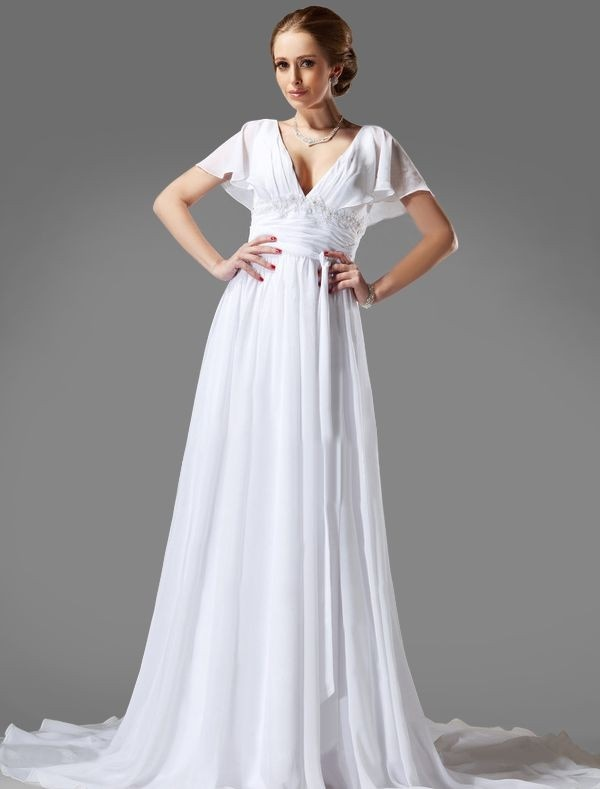 Chiffon v neck a line wedding dress with flutter short for Flutter sleeve wedding dress