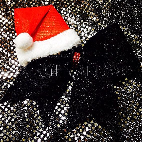 Santas Hat Handmade Big glitter amd bling cheer bow by ThrowITBows