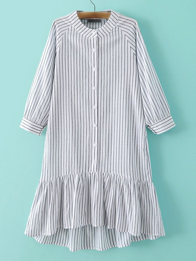 Grey Stripe Buttons Front Ruffle Hem Dress