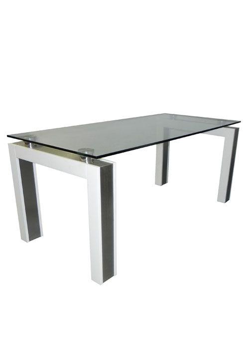 Mesa Vidrio Liborno: Esta mesa de diseño moderno combina lo mejor de la madera con el vidrio. Sus patas cuadradas lustradas en color wengue o laqueadas de blanco con detalles de acero inoxidable esmerilado y una tapa en vidrio de 12 mm templado.