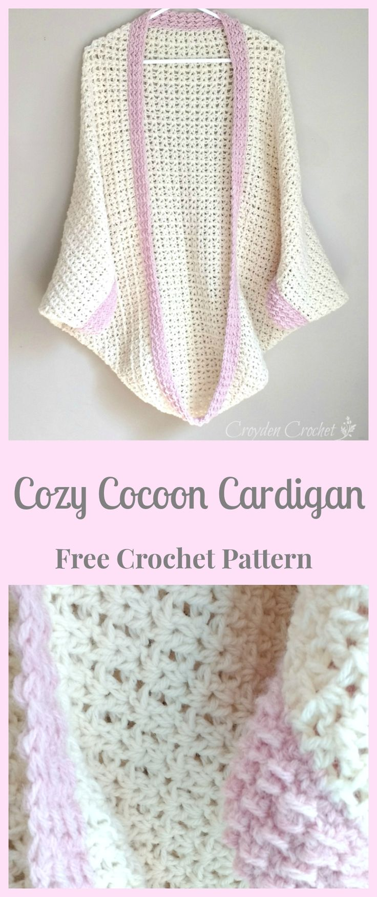 V-stitch cocoon cardigan/shrug w/pink trim.